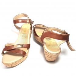 Sandalias de plataforma forro corteza y piel marrón