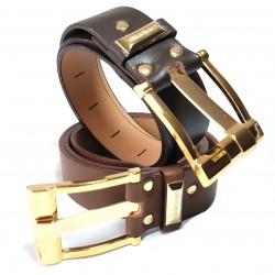 Cinturón ancho en piel con...