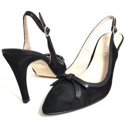 Zapatos de tacón piel negro