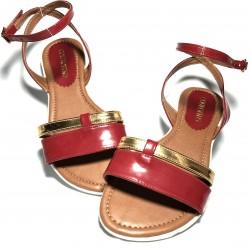 Sandalias piel rojo y dorado