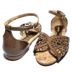 Sandalia piel brocado