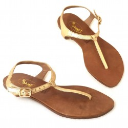 Sandalia trikini piel dorada